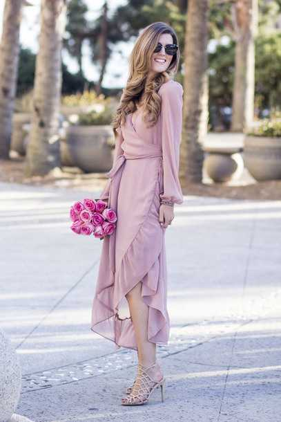 Pink Outfits: pink bishop sleeve wrap dress, beige heel sandals, sunglasses #outfitideas #pink #longhair #fashion