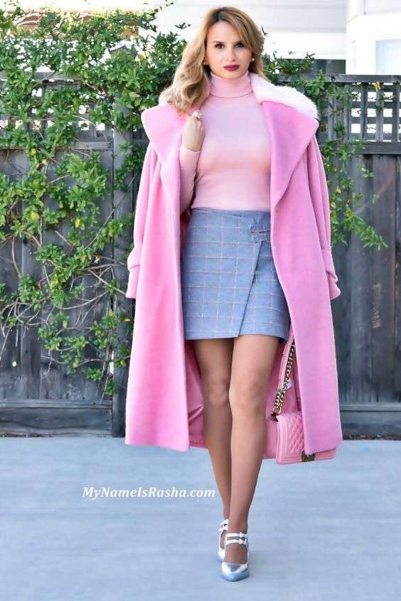 Pink Outfits: bubblegum pink coat, pink turtleneck sweater, light blue checked wrap skirt, silver ankle strap heels, pink bag, pearl earrings #outfitideas #makeup #pink #woman