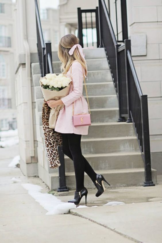 Pink Outfit: blush pink long sleeve dress, black tights, black booties, pink crossbody bag, leopard print jacket #outfit #pink #girly #trendy