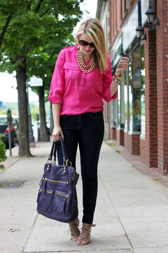 Pink Outfits: hot pink half sleeve shirt, black skinny jeans, dark gray handbag, gray lace-up heel sandals, golden chain necklace, sunglasses, bracelets #outfitoftheday #girly #urban #fashion