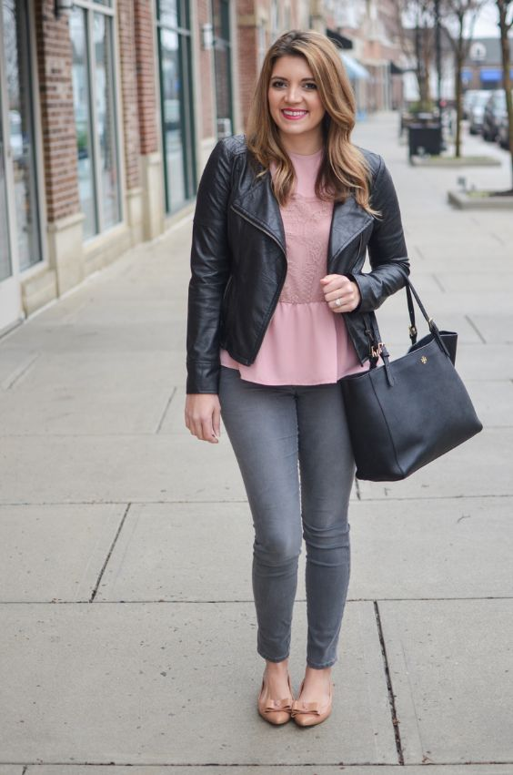 Pink Outfit: watermelon pink peplum top, black faux leather jacket, gray skinny jeans, black handbag, nude ballerina flat shoes #outfitideas #woman #pink #urban