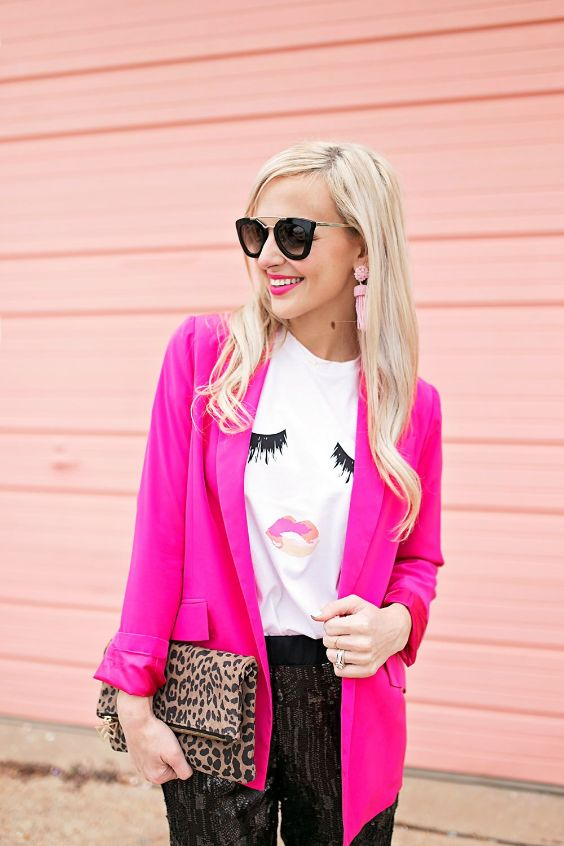 Pink Outfits: fuchsia blazer, white t-shirt, black and gray pants, leopard print purse, sunglasses, pink earrings #outfit #pink #blonde #fashion