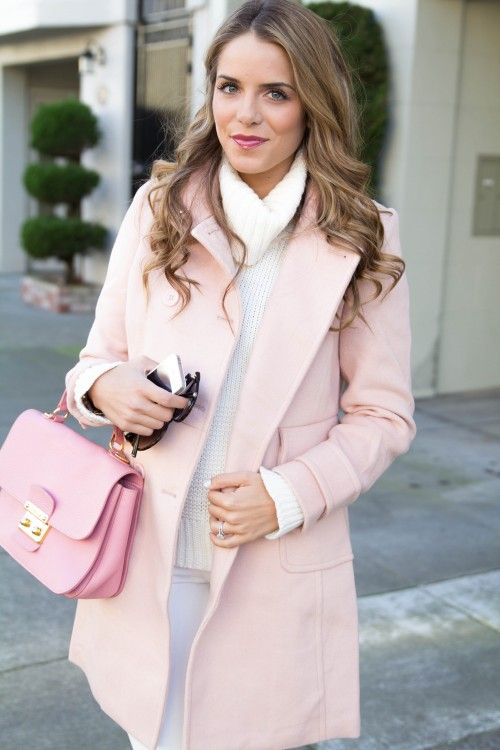 Pink Outfit: lemonade pink coat, white turtleneck sweater, white pants, pink handbag, sunglasses #outfitoftheday #girly #pink #makeup