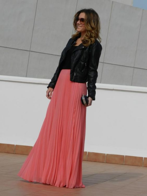 Pink Outfits: black faux leather jacket, black top, coral pink chiffon pleated maxi skirt, black and silver purse, sunglasses #outfit #pink #fashion #chic