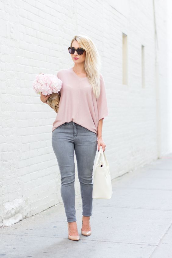 Pink Outfits: blush pink dolman sleeve blouse, gray skinny pants, blush pink heels, white handbag, sunglasses #outfitideas #blonde #pink #floral