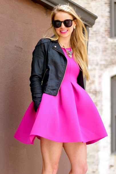 Pink Outfit: hot pink boat neck dress, black faux leather jacket, golden necklace, sunglasses, earrings #outfit #pink #smile #chic