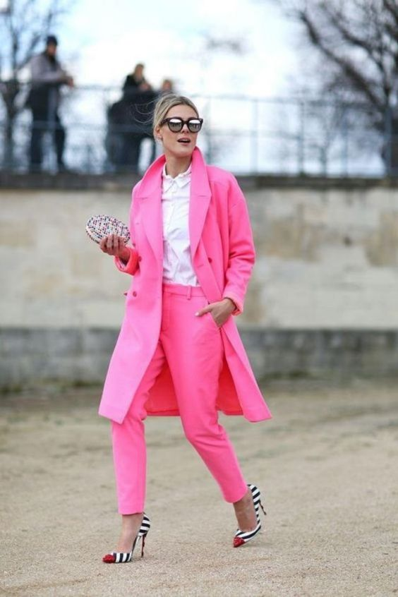 Pink Outfits: fuchsia coat and jodhpurs pants set, checked purse, white shirt, sunglasses, black and white striped heels #outfitoftheday #pink #girly #blonde