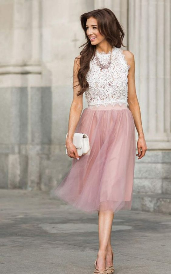 Pink Outfits: white lace halter top, pink tulle skirt, nude heels, white purse, silver and pink necklace #outfit #pink #longhair #brunette