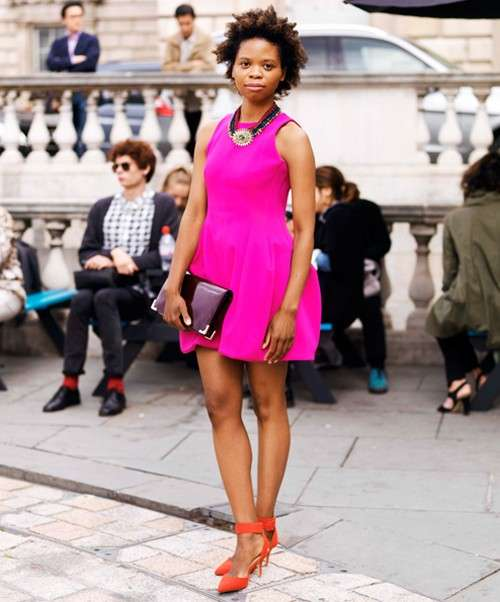Pink Outfit: fuchsia sleeveless bubble dress, orange ankle strap heels, necklace, wine purse #outfitideas #fuchsia #pink #trendy