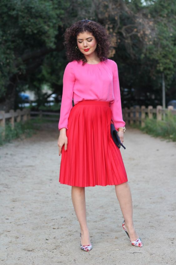 Pink Outfits: fuchsia long sleeve blouse, red pleat skirt, white floral heels, black purse, bracelet, hoop earrings #outfit #love #makeup #fuchsia