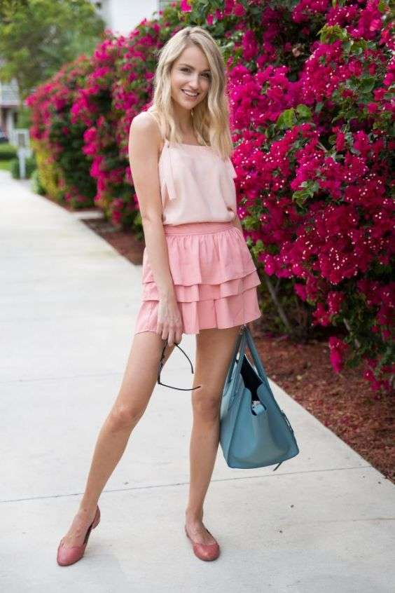 Pink Outfit: blush pink spaghetti strap top, flamingo pink tiered skirt, rose pink ballerina flat shoes, sky blue handbag, sunglasses #outfitoftheday #girl #pink #smile