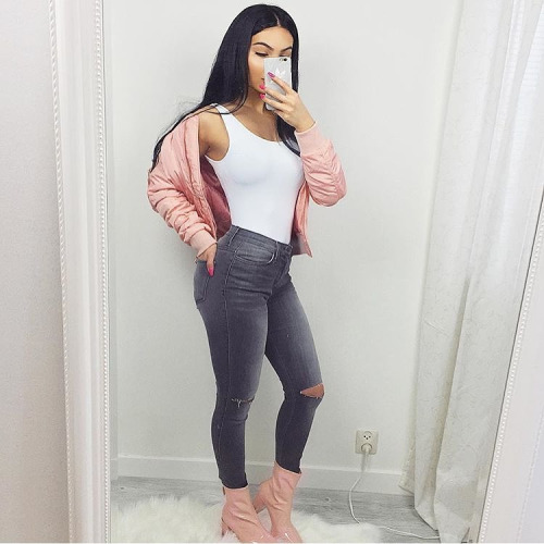 Pink Outfits: salmon pink jacket, white sleeveless top, gray ripped jeans, salmon pink booties #outfit #girly #pink #hair