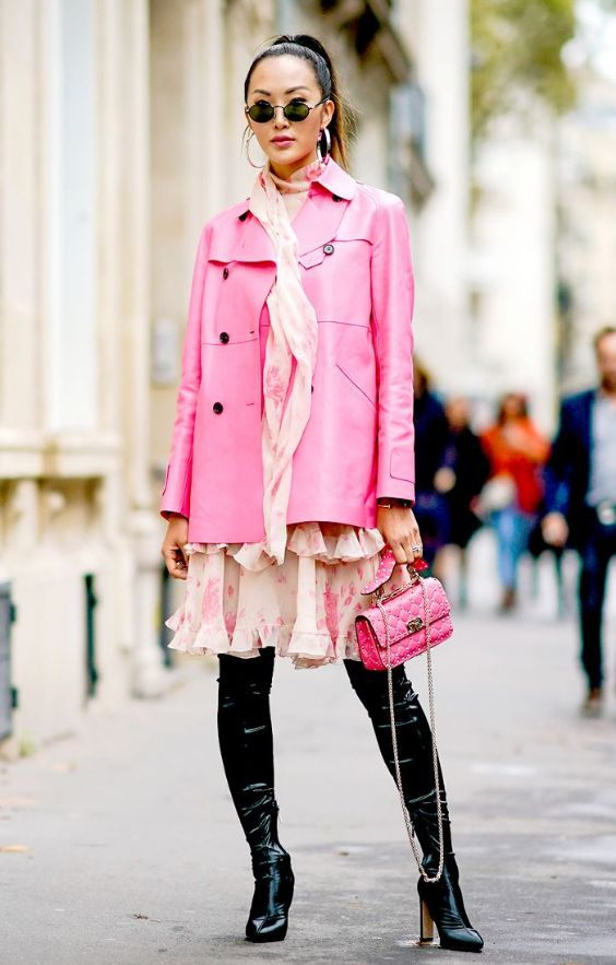 Pink Outfits: fuchsia coat, blush pink floral layered dress, black knee high booties, fuchsia purse, hoop earrings, sunglasses, bracelet #outfitideas #pink #fuchsia #urban