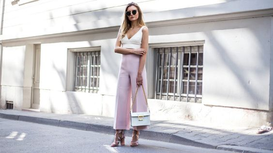 Pink Outfits: white v-neck sleeveless crop top, blush pink palazzo pants, nude heel sandals, white and golden bag, sunglasses #outfitoftheday #pink #woman #sexy