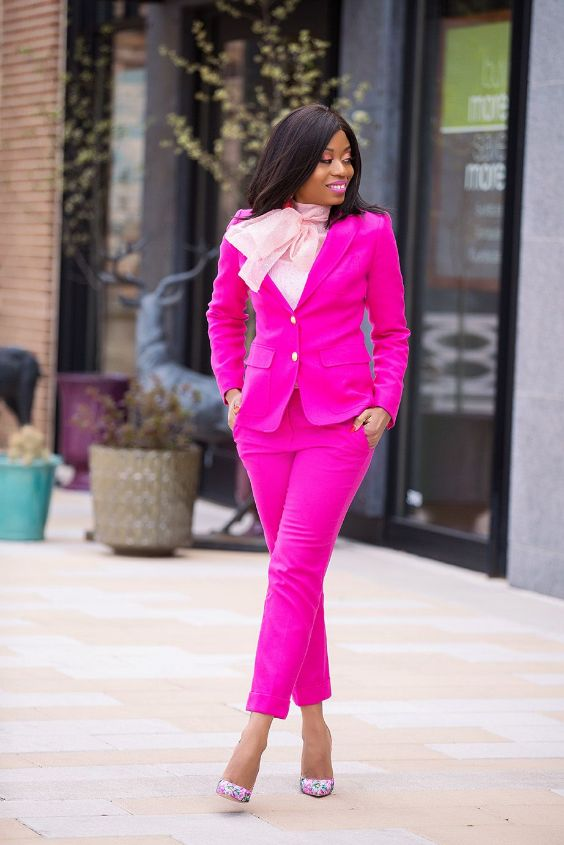 Pink Outfits: hot pink blazer and jodhpurs pants, pink bow front blouse, pink floral heels #outfitoftheday #fuchsia #urban #work