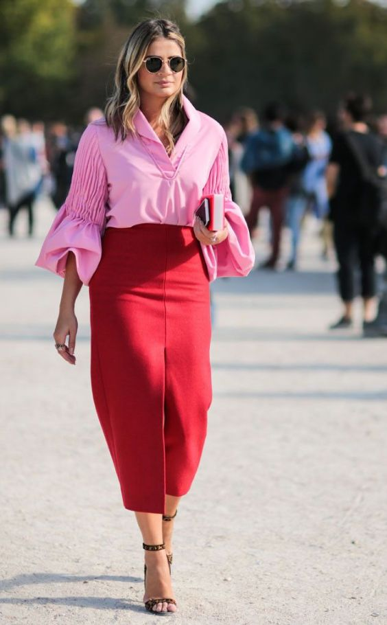 Pink Outfit: pink flounce sleeve v-neck blouse, red maxi skirt, black heel sandals, sunglasses #outfitoftheday #pink #red #cute