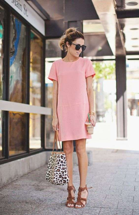 Pink Outfits: rose pink t-shirt dress, camel heel sandals, leopard print handbag, sunglasses, bracelet #outfitideas #girly #chic #pink