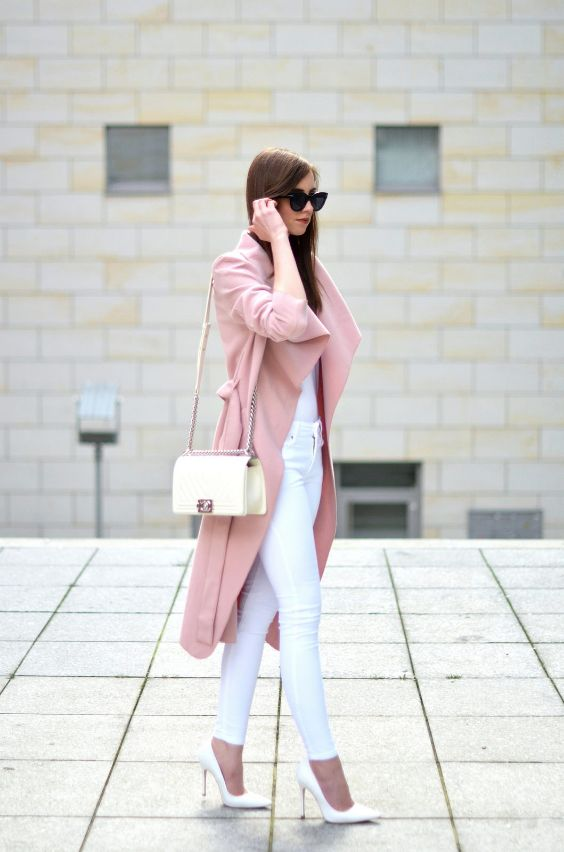 Pink Outfit: flamingo pink coat, white top, white skinny pants, white bag, white heels, sunglasses #outfit #pink #fashion #urban