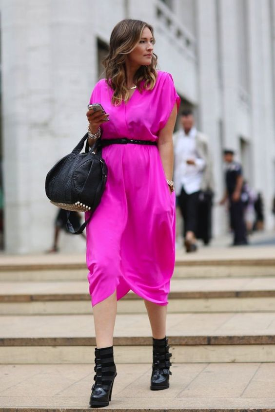 Pink Outfits: fuchsia cross front cap sleeve dress, black belt, black booties, black handbag, necklace, bracelets, watch #outfitoftheday #woman #chic #fuchsia