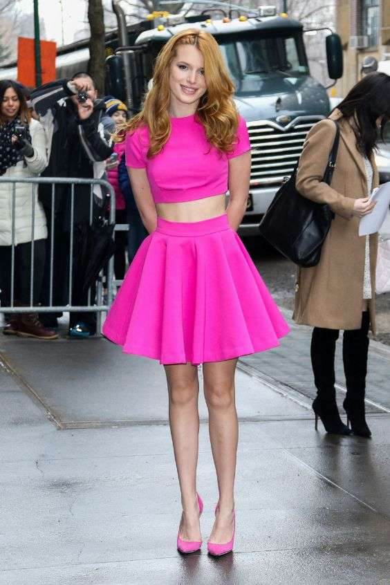 Pink Outfits: fuchsia short sleeve crop top and circle skirt set, pink scarpin shoes #outfit #fuchsia #fashion #girly