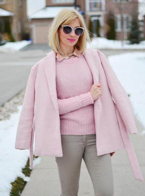 Pink Outfit: blush pink jacket, blush pink sweater, pink shirt, gray skinny pants, sunglasses #outfitoftheday #girly #pink #snow