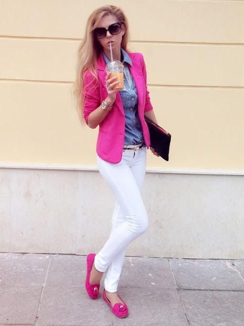 Pink Outfits: fuchsia blazer, denim shirt, white skinny jeans, fuchsia flat shoes, black purse, sunglasses, black belt, watch #outfitideas #pink #blonde #cute