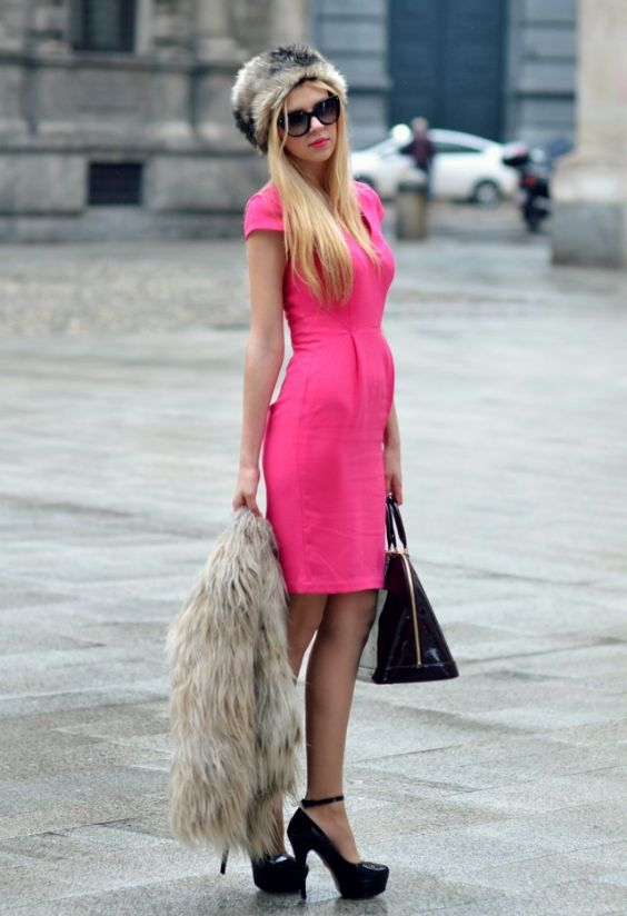 Pink Outfit: pink short sleeve pleat front dress, beige faux fur scarve and ushanka set, black ankle strap heels, black handbag, sunglasses #outfit #pink #blonde #fashion