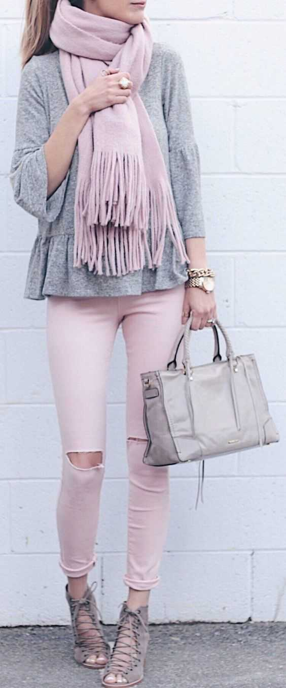 Pink Outfits: pink scarve, gray bell sleeve peplum top, pink ripped pants, gray lace-up heel sandals, gray handbag, watch, bracelet, ring #outfit #pink #trendy #fashion