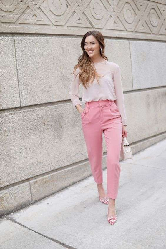 Pink Outfits: blush pink long sleeve chiffon blouse, pink jodhpurs pants, pink floral heels, blush pink handbag, earrings #outfitoftheday #longhair #smile #makeup
