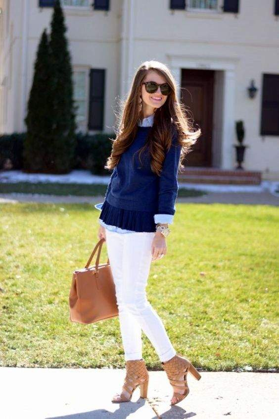Preppy Outfit: navy blue sweater, light blue shirt, white skinny pants, camel heel sandals, camel handbag, sunglasses, watch #outfit #brunette #longhair #fashion