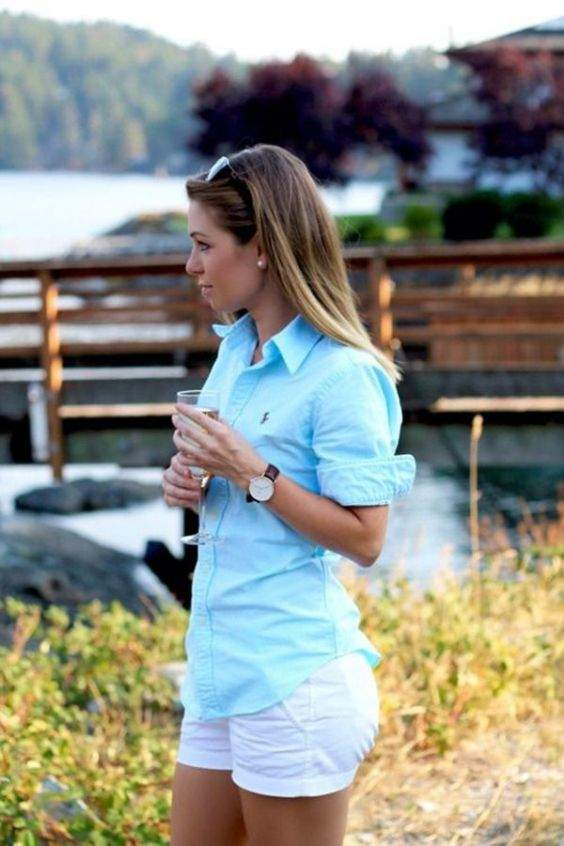 Preppy Outfit: light blue shirt, white shorts, watch, sunglasses, pearl earrings #outfitoftheday #nature #chic #casual