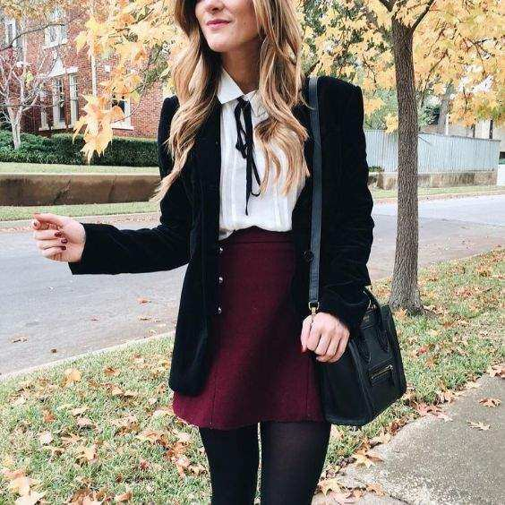 Preppy Outfit: black blazer, white bow front blouse, wine skirt, black tights, black crossbody bag #outfit #pretty #chic #college