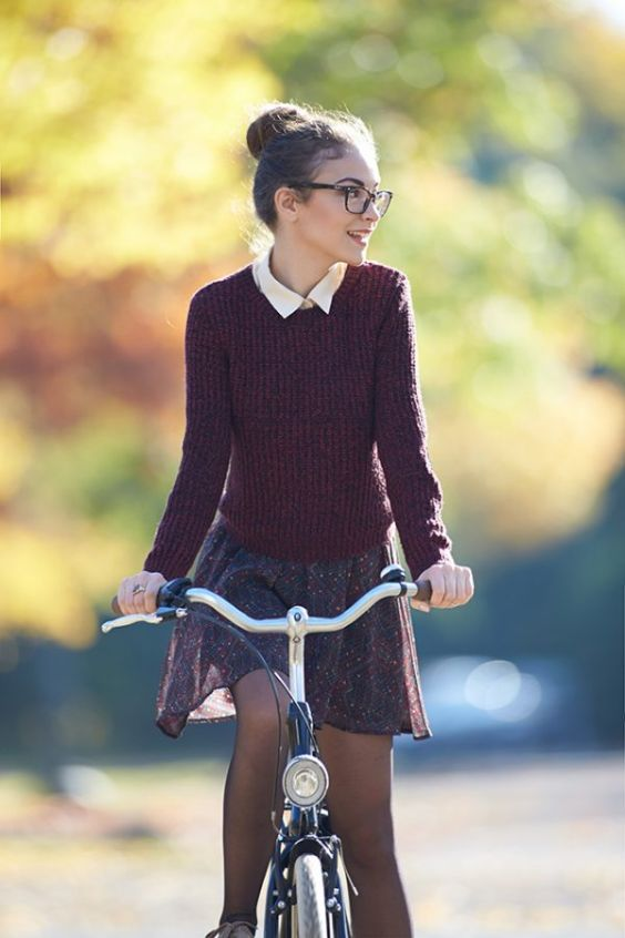 Preppy Outfits: wine sweater, beige shirt, brown circle chiffon skirt, brown tights #outfit #glasses #hairstyle #cute