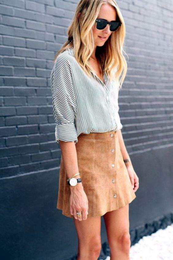 Preppy Outfits: black and white striped shirt, camel skirt, watch, bracelets, sunglasses #outfit #blonde #college #casual