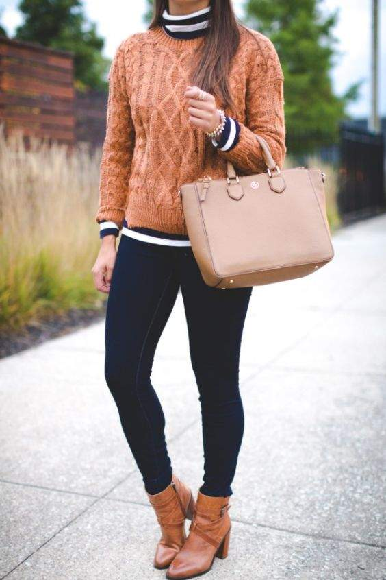 Preppy Outfits: brown sweater, black and white striped turtleneck top, skinny jeans, beige handbag, camel booties, bracelet #outfit #college #fashion #girl