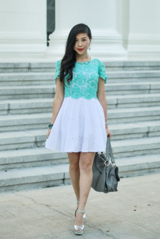 Preppy Outfits: turquoise and white lace short sleeve dress, silver heel sandals, gray handbag, bracelets, hoop earrings #outfit #turquoise #brunette #makeup