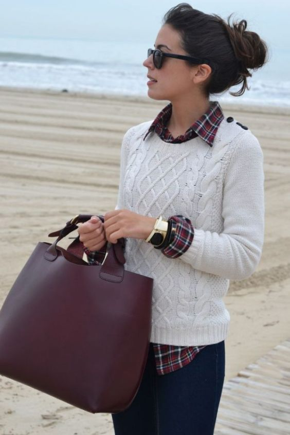 Preppy Outfits: white sweater, red lumberjack shirt, skinny jeans, brown handbag, bracelet, sunglasses #outfit #woman #college #fashion