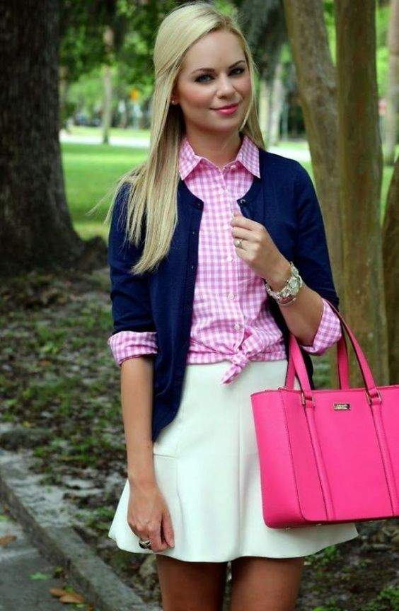 Preppy Outfits: pink and white plaid shirt, navy blue cardigan, white circle skirt, pink handbag, bracelet #outfitideas #pink #blonde #dailylook