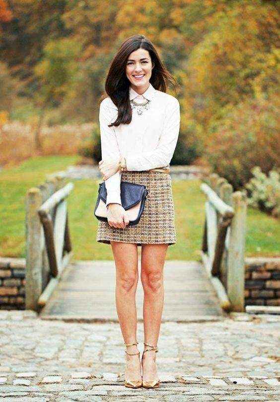 Preppy Outfit: white shirt, brown plaid skirt, golden heels, necklace, black and beige purse, bracelet ##outfit #brunette #trendy #cute