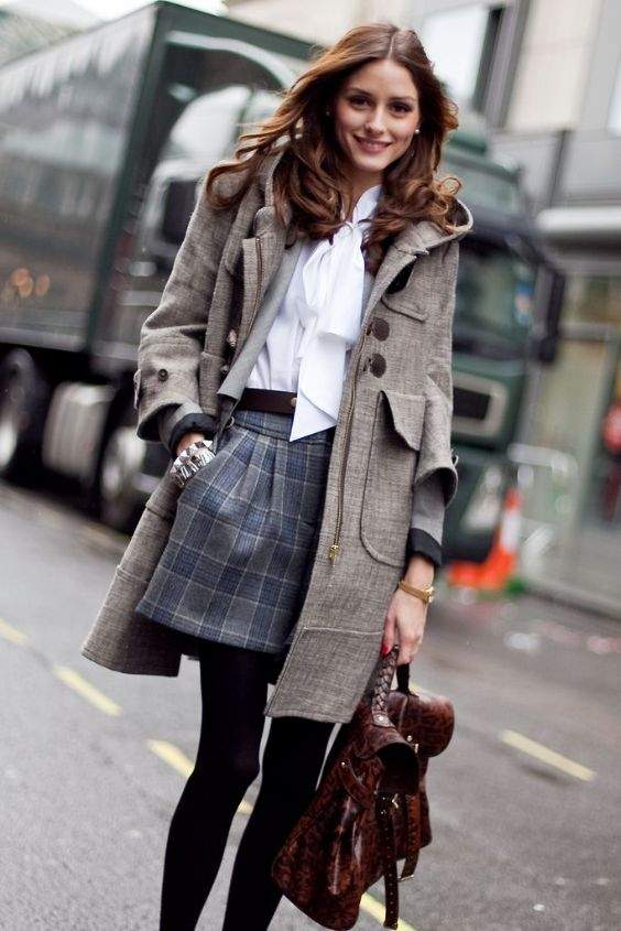 Preppy Outfit: white bow front blouse, navy blue and gray plaid skirt, black tights, gray coat, brown handbag, watch, earrings #outfitideas #cute #fashion #preppy