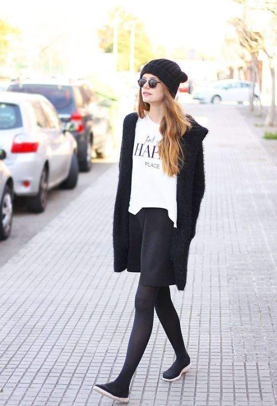 Preppy Outfits: white top, black circle skirt, black tights, black coat, black slip-on shoes, black winter hat, sunglasses #outfit #trendy #cute #girl