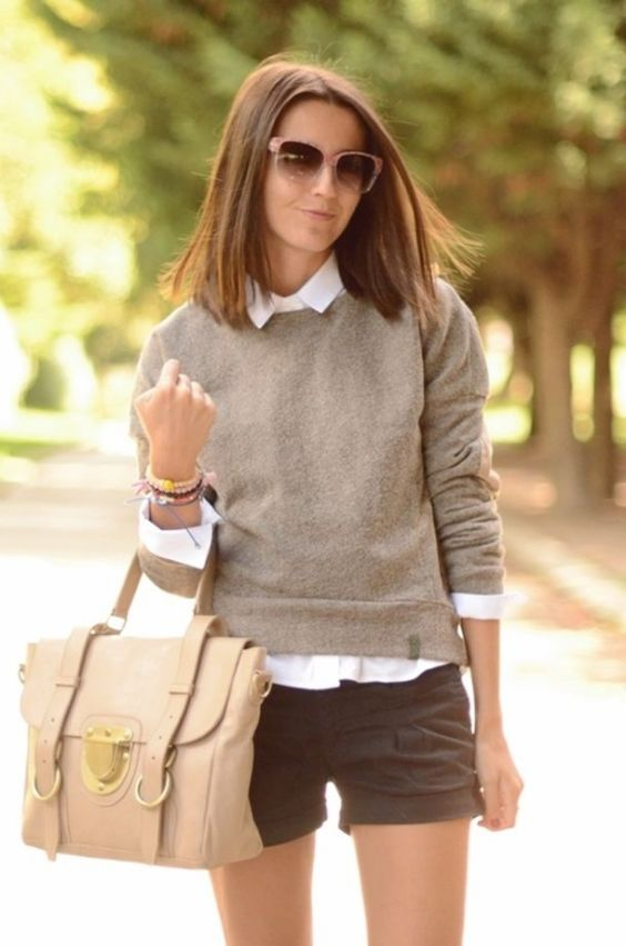 Preppy Outfit: gray sweater, white shirt, black shorts, beige handbag, sunglasses, bracelets #outfitoftheday #shorthair #dailylook #girl