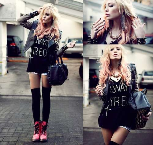 Punk Outfit: black top, black faux leather jacket, black knee high socks, denim shorts, black handbag, necklace, red army boots #outfitideas #blonde #punk #trendy