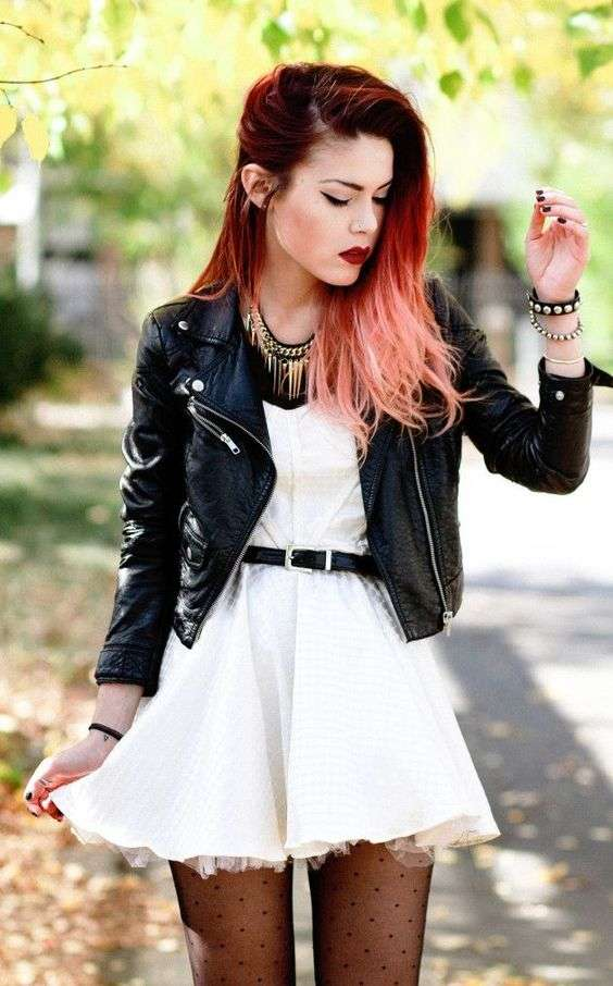 Punk Outfits: black faux leather jacket, white dress, black belt, necklace, black tights, bracelets #outfitideas #punk #fashion #trendy