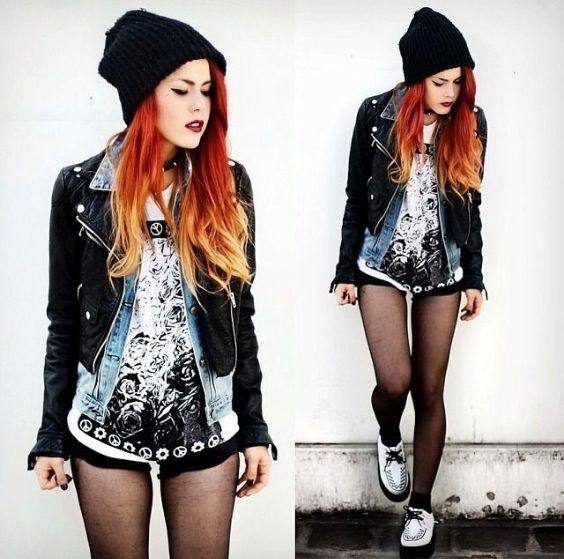 Punk Outfit: black winter hat, white top, black faux leather jacket, denim jacket, black shorts, black tights, white martens shoes, choker #outfitideas #redhair #makeup #girl