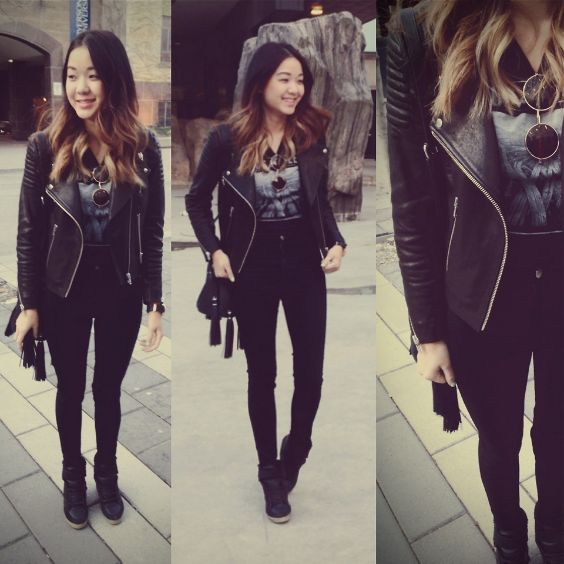 Punk Outfits: black faux leather jacket, black skinny jeans, black top,black booties, black crossbody bag, sunglasses #outfitideas #black #casual #punk
