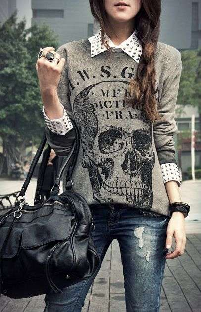 Punk Outfits: gray sweatshirt, white shirt, ripped jeans, black handbag, bracelets, rings #outfitoftheday #girl #punk #cute