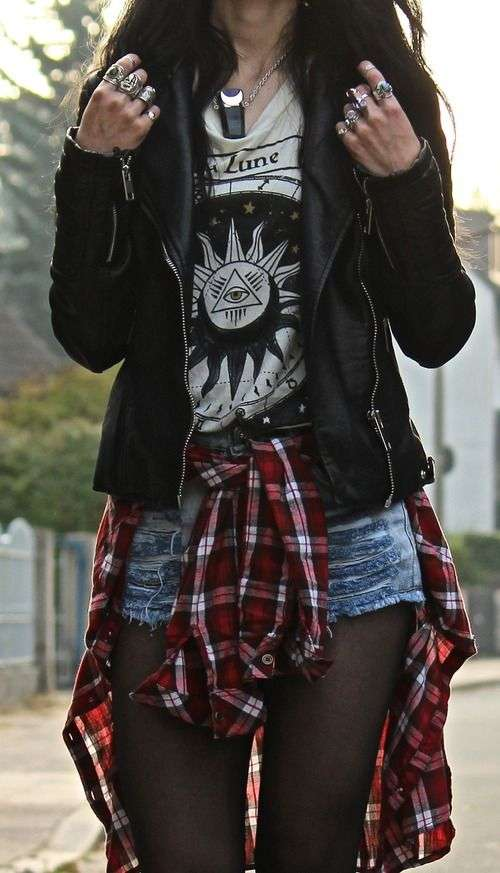 Punk Outfit: black faux leather jacket, gray top, denim shorts, red lumberjack shirt, black tights, necklace, rings #outfitideas #girl #punk #chic