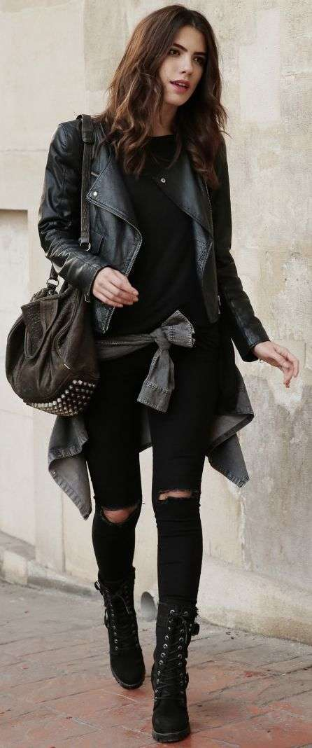 Punk Outfits: black faux leather jacket, black top, black ripped jeans, black booties, black bag, gray sweater #outfitoftheday #brunette #punk #black
