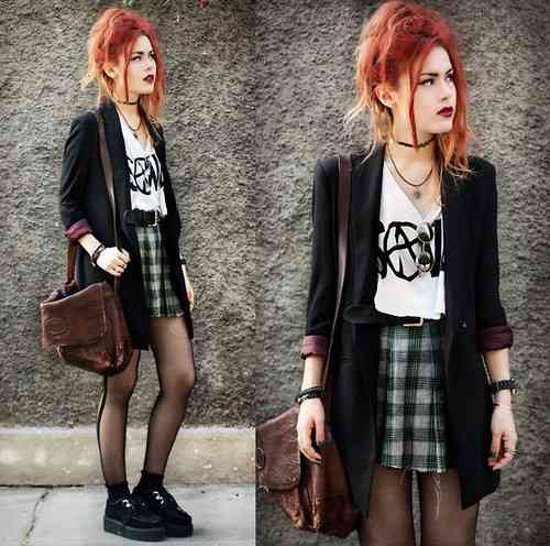 Punk Outfit: white t*shirt, black blazer, gray plaid skirt, black tights, black martens shoes, necklace, brown bag, bracelets, black belt #outfitideas #redhair #makeup #trendy